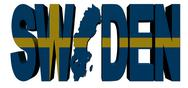 Sweden map text with flag illustration Stock Illustration