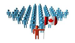 Canadian workers with rippled flag illustration Stock Illustration