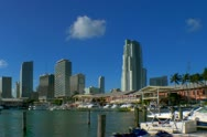 Stock Video Footage of Miami downtown skyline seen from bayfront in early morning