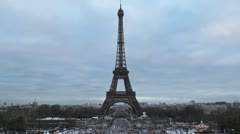 Aerial View of Eiffel Tower in Paris, Montparnasse Tower, Champ de Mars Stock Footage