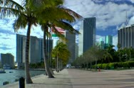 Stock Video Footage of Miami downtown skyline along seen along bayside