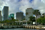 Stock Video Footage of Miami downtown skyline seen from along bayfront in early morning