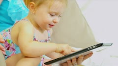 Cute Pre School Girl Playing Tablet Home Sofa Close Up  Stock Footage