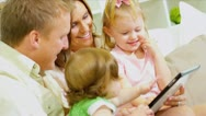 Pre School Girls Playing Parents Home Sofa Stock Footage