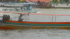 Long Boat Chao Praya River Bangkok Stock Footage