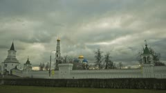 Clouds over orthodox monastery Stock Footage
