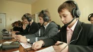 Stock Video Footage of Linguaphone classroom. Students with headphones.