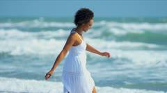 Smiling Young Female Enjoying Beach Lifestyle Stock Footage