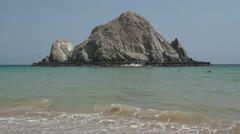 Big Rock in The India Ocean Stock Footage