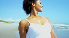 Close Up Beautiful Ethnic Girl Beach Dress - stock footage