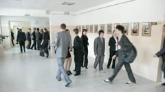 Typical corridor of russian school while a break - stock footage