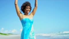 Beautiful Girl Loving Beach Lifestyle Stock Footage