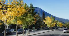 Road In Beautiful Town In Rockies - stock photo