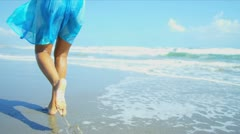Lower Body Girl Walking Beach Stock Footage