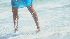 Bare Legs Ethnic Beach Girl - stock footage
