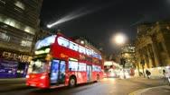 Night time traffic at trafalgar square, London Stock Footage
