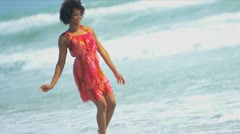 Laughing African American Girl Beach Water - stock footage
