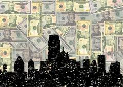 grunge dallas skyline with american dollars illustration - stock illustration