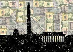 Grunge washington dc skyline with american dollars illustration Stock Illustration