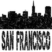 Grunge San Francisco skyline tekstin kuvitus Piirros