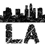 grunge los angeles skyline with text illustration - stock illustration