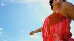 Close Up Beautiful Ethnic Beach Girl Stock Footage