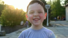 little boy laughs and smiles 3 - stock footage
