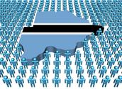 Botswana map flag surrounded by many abstract people illustration Stock Illustration