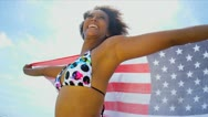 Girl Wrapped in Towel American Flag Stock Footage