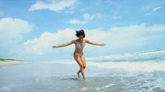 African American Girl Enjoying Beach Vacation Stock Footage