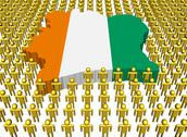 Ivory coast map flag surrounded by many abstract people illustration Stock Illustration
