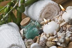 spa items and seashells. - stock photo