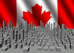 Abstract cityscape with rippled canadian flag illustration Stock Illustration