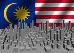 Abstract cityscape with rippled malaysian flag illustration Stock Illustration