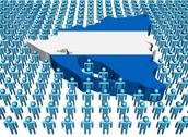 Nicaragua map flag surrounded by many abstract people illustration Stock Illustration