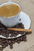 coffee on a burlap background. - stock photo