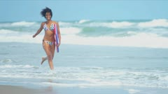 Laughing Ethnic Girl Beach Body Board Stock Footage