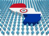Paraguay map flag surrounded by many abstract people illustration Stock Illustration
