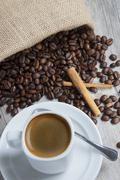 coffee and coffee beans. - stock photo