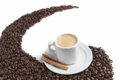 espresso and coffee beans. - stock photo