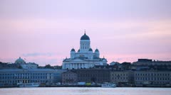 Helsinki Lutheran Cathedral, Senate Square, Beautiful Twilight, Red Dusk Stock Footage