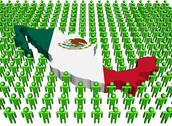 Mexico map flag surrounded by many abstract people illustration Stock Illustration
