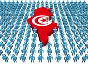 Tunisia map flag surrounded by many abstract people illustration Stock Illustration
