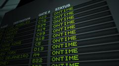 Flight Information Board, On Time Stock Illustration