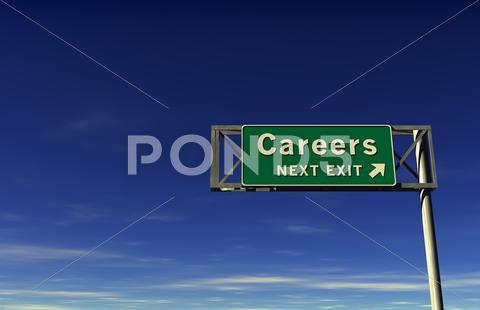 Stock Illustration of Careers Freeway Exit Sign