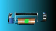 Virtual Studio with Greenscreen Desk Logo Stock Footage