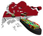 Singapore map flag with container ships illustration Stock Illustration