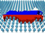 Russia map flag surrounded by many abstract people illustration Stock Illustration