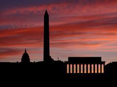 Washington dc skyline at sunset with beautiful sky illustration Stock Illustration