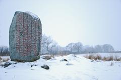 rune stone - stock photo
